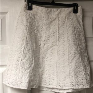 Ann Taylor White Eyelet Skirt 4p